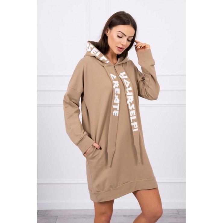 Dress with hood MI0042 camel