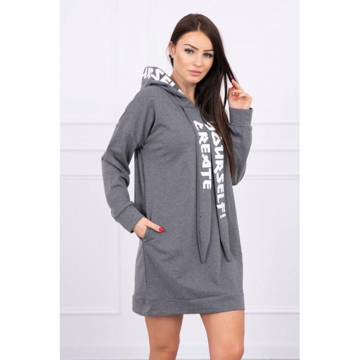 Šaty s kapucí MI0042 grafitové