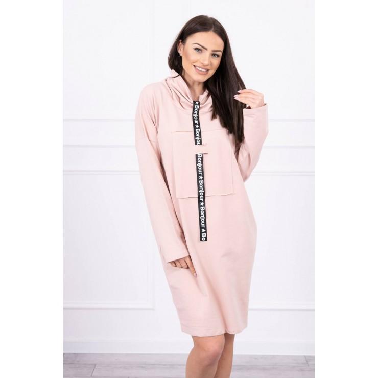 Šaty s kapucí Bonjour MI0153 pudrově růžové