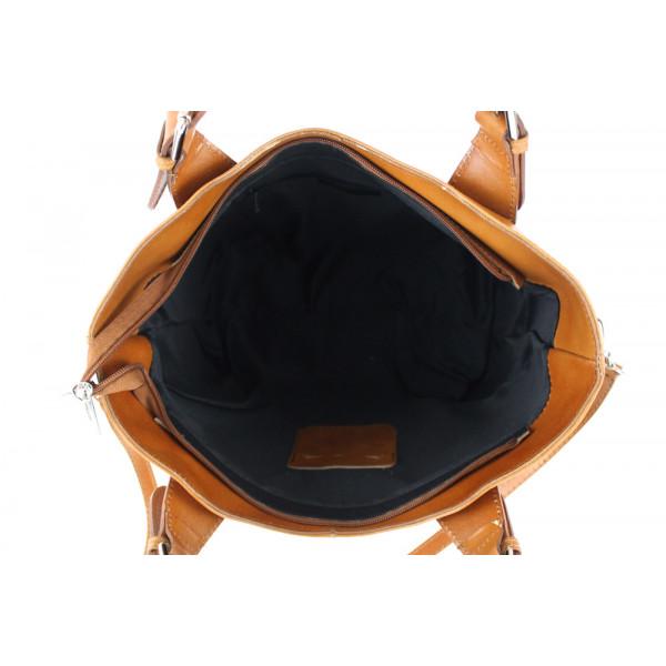 Kožená kabelka do ruky 69 koňaková Koňak