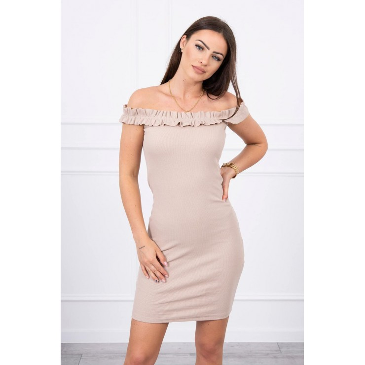 Of the shouldrer dress with frills MI9097 beige