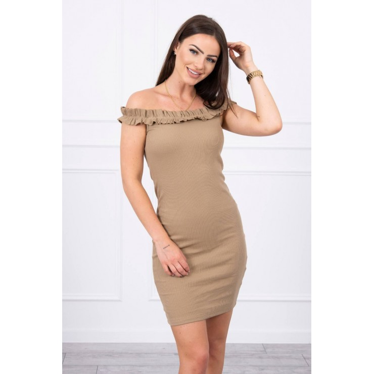 Of the shouldrer dress with frills MI9097 camel