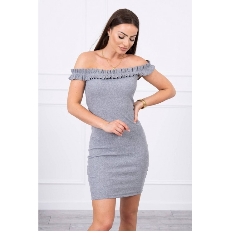 Of the shouldrer dress with frills MI9097 gray