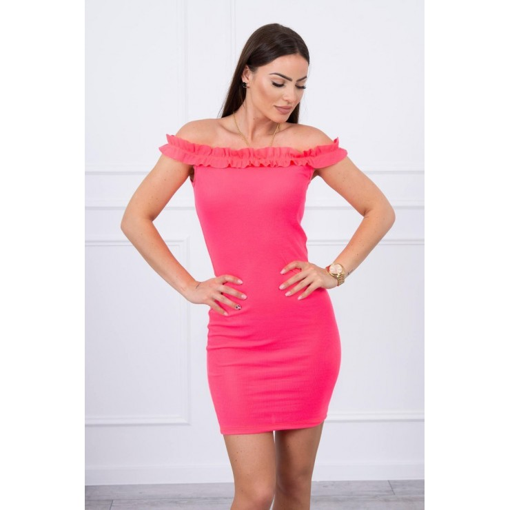 Of the shouldrer dress with frills MI9097 pink neon