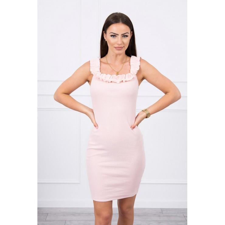 Šaty se zdobenými ramínky MI9097 pudrově růžové