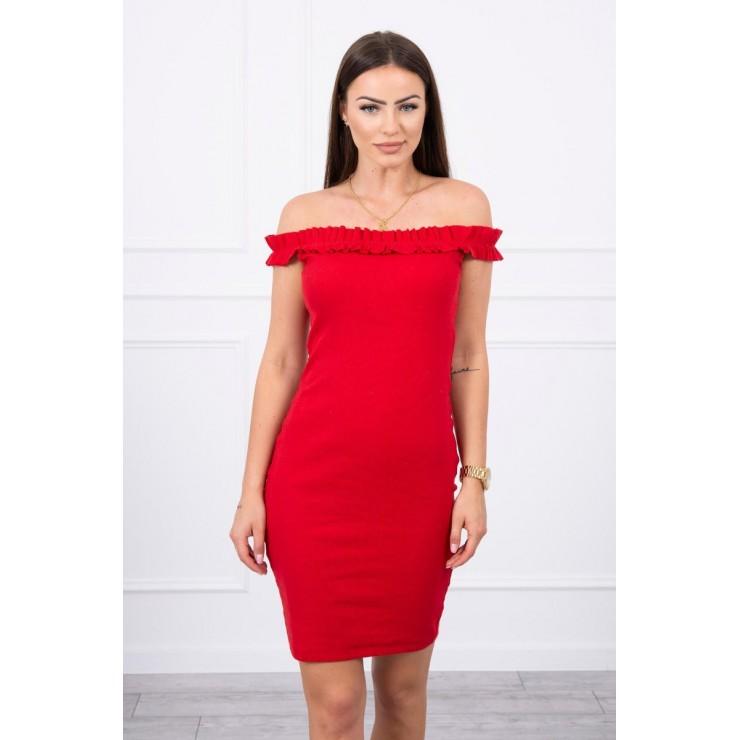 Šaty se zdobenými ramínky MI9097 rudé