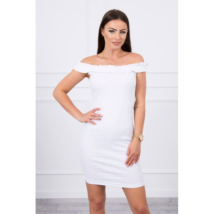 Of the shouldrer dress with frills MI9097 white
