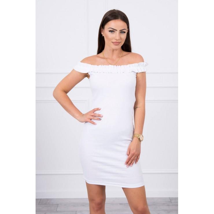 Šaty se zdobenými ramínky MI9097 bílé