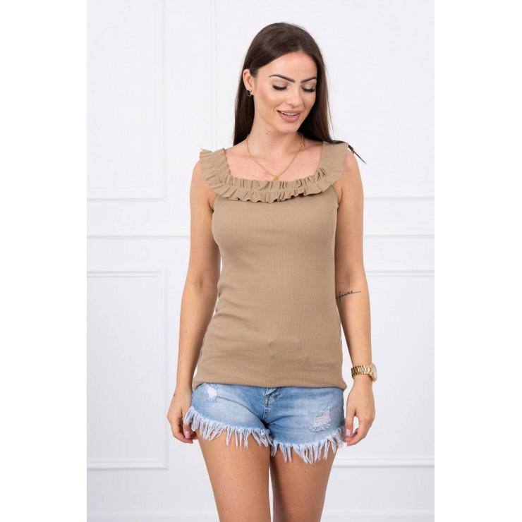 Tričko so zdobenými ramienkami MI9096 camel