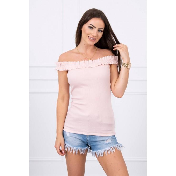 Tričko so zdobenými ramienkami MI9096 pudrovo ružové