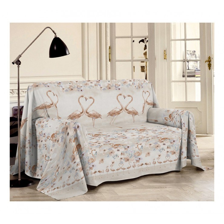 Blanket on the couch Flamingo beige