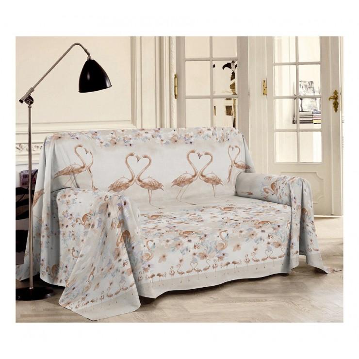 Prikrývka na gauč Plameniak béžová
