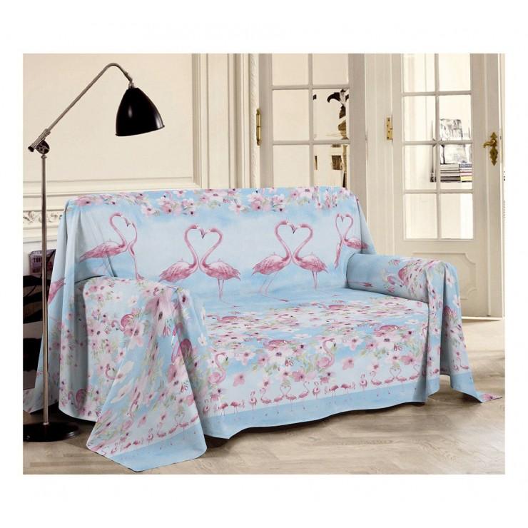 Prikrývka na gauč Plameniak ružová