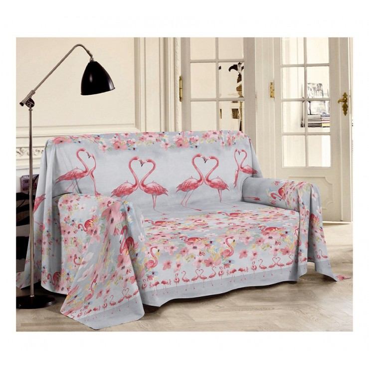 Blanket on the couch Flamingo red