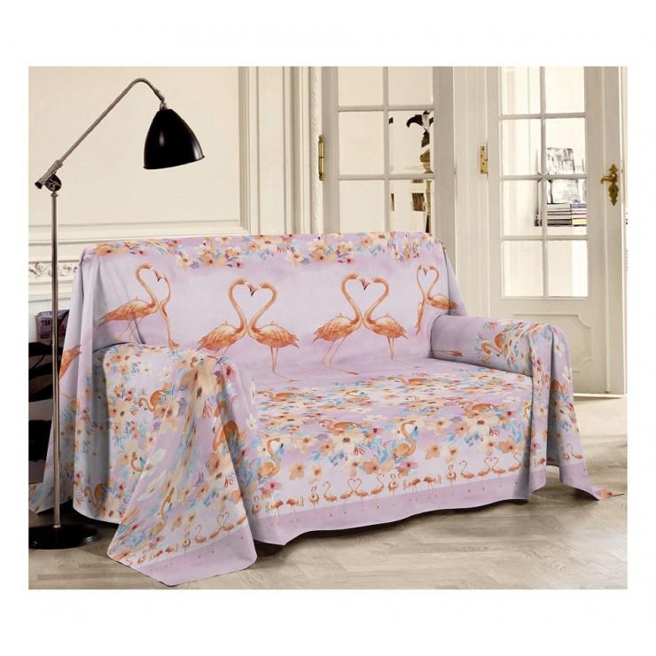 Prikrývka na gauč Plameniak oranžová