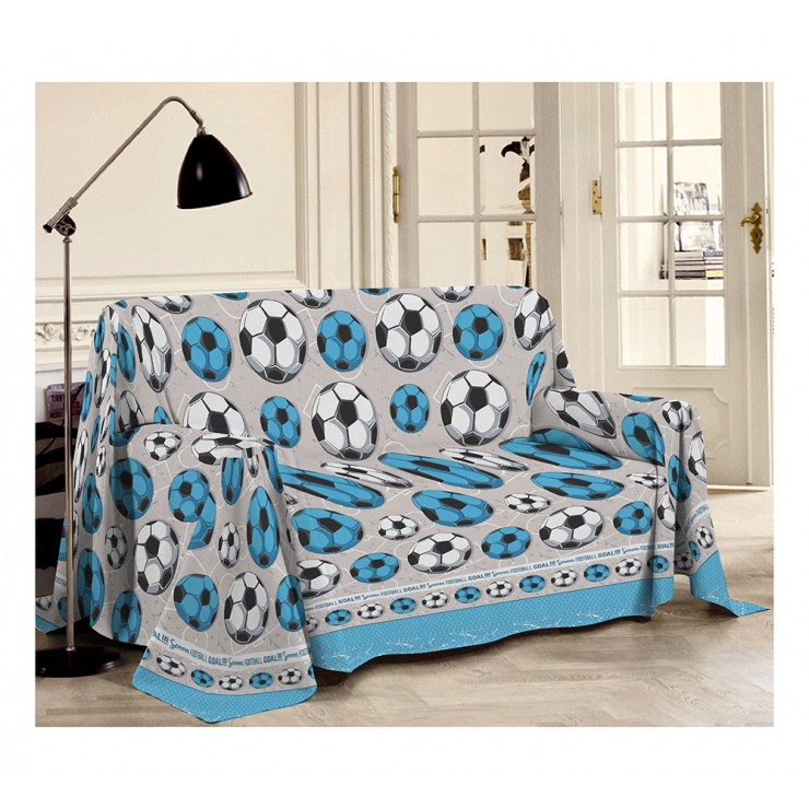 Blanket on the couch Football bluette Made in Italy
