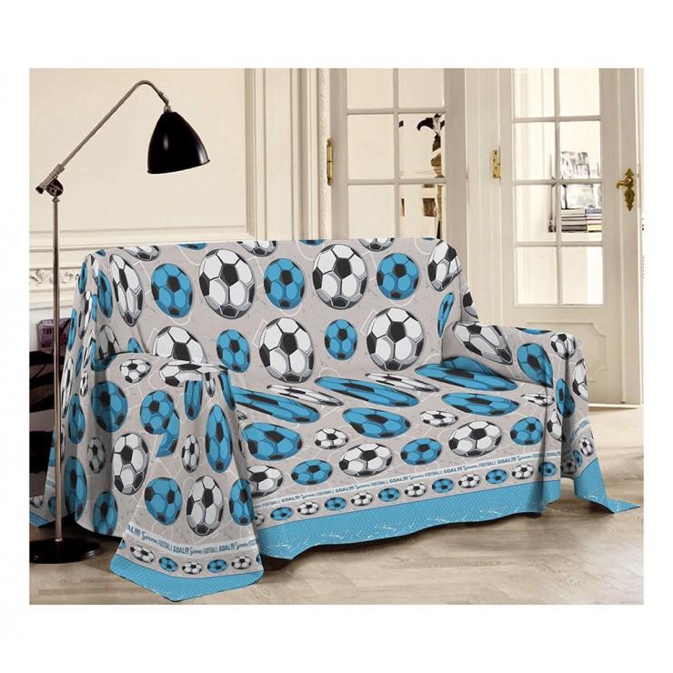 Prikrývka na gauč Futbal azurovo modrá Made in Italy