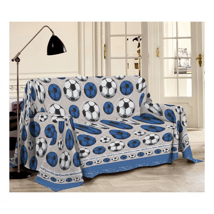 Blanket on the couch Football blue Made in Italy