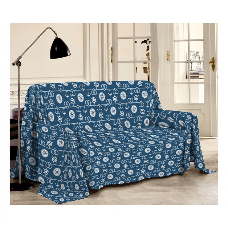 Blanket on the couch Sea blue Made in Italy