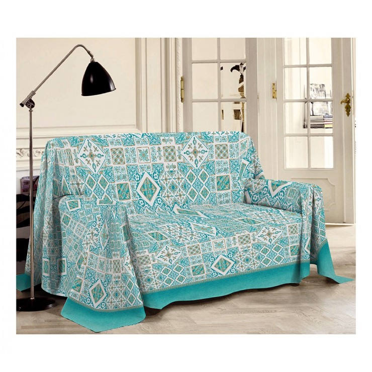 Blanket on the couch Majolica green Made in Italy