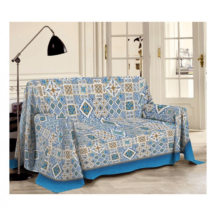 Blanket on the couch Majolica blue Made in Italy