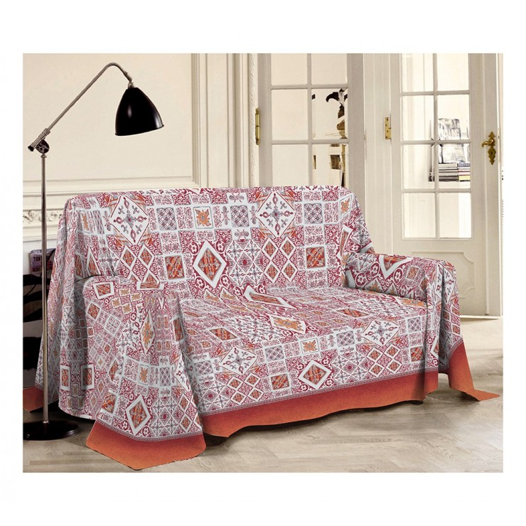Blanket on the couch Majolica red Made in Italy