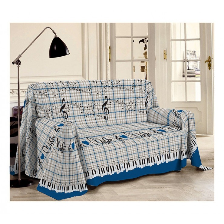Blanket on the couch Musik blue Made in Italy
