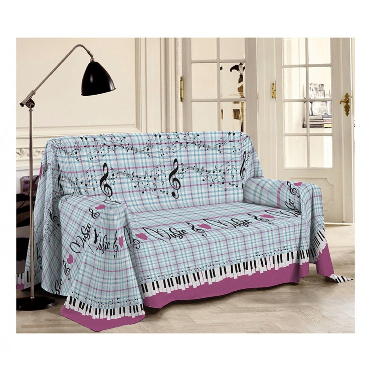 Blanket on the couch Musik pink Made in Italy