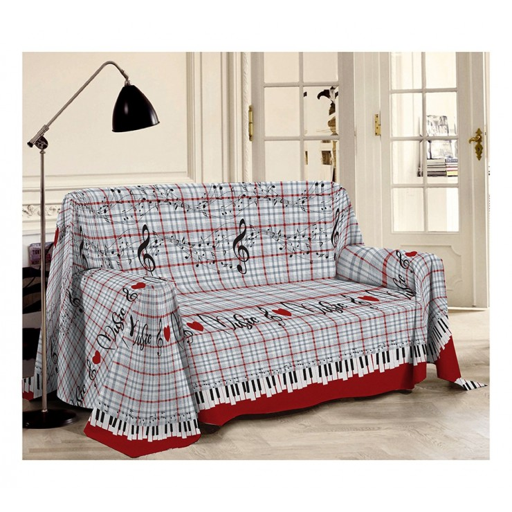 Blanket on the couch Musik red Made in Italy