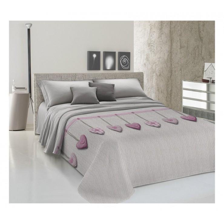Bedcover Piquet Hanging hearts pink