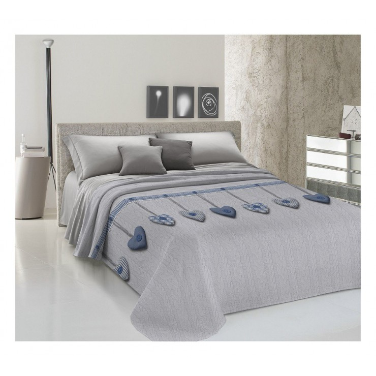 Bedcover Piquet Hanging hearts blue