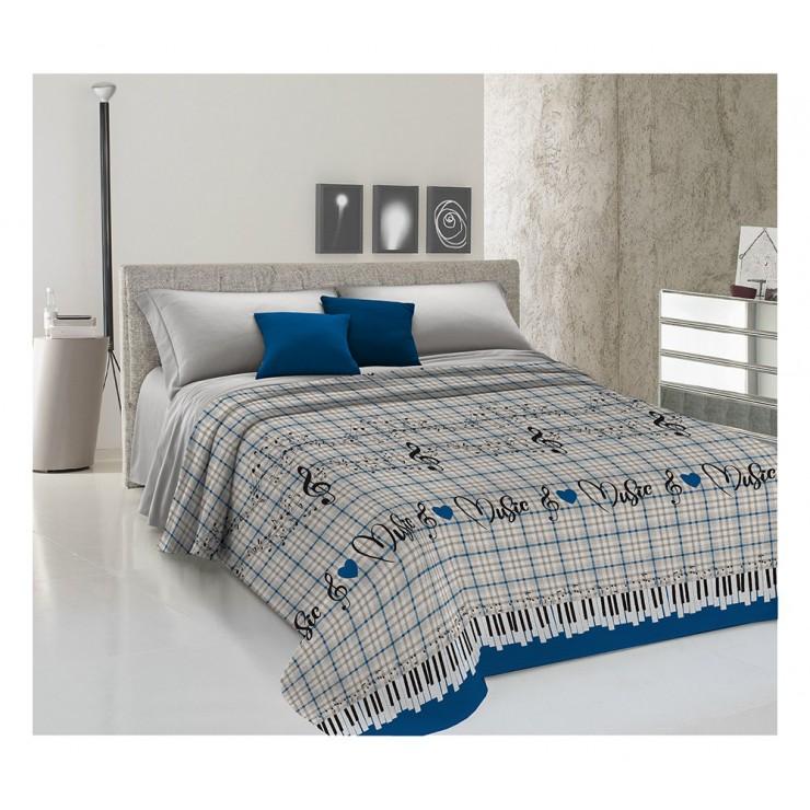 Bedcover Piquet Music blue