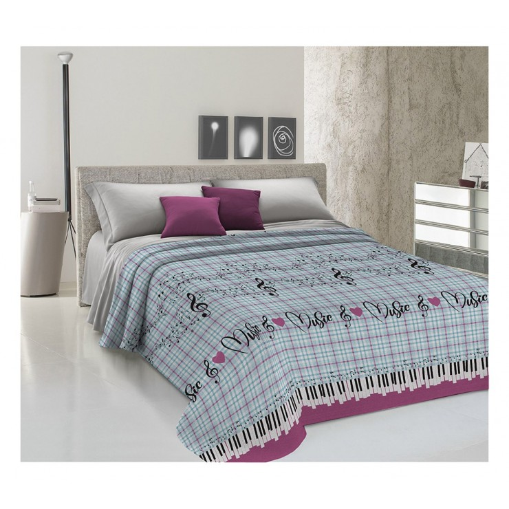 Bedcover Piquet Music purple