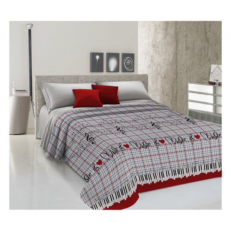 Bedcover Piquet Music red