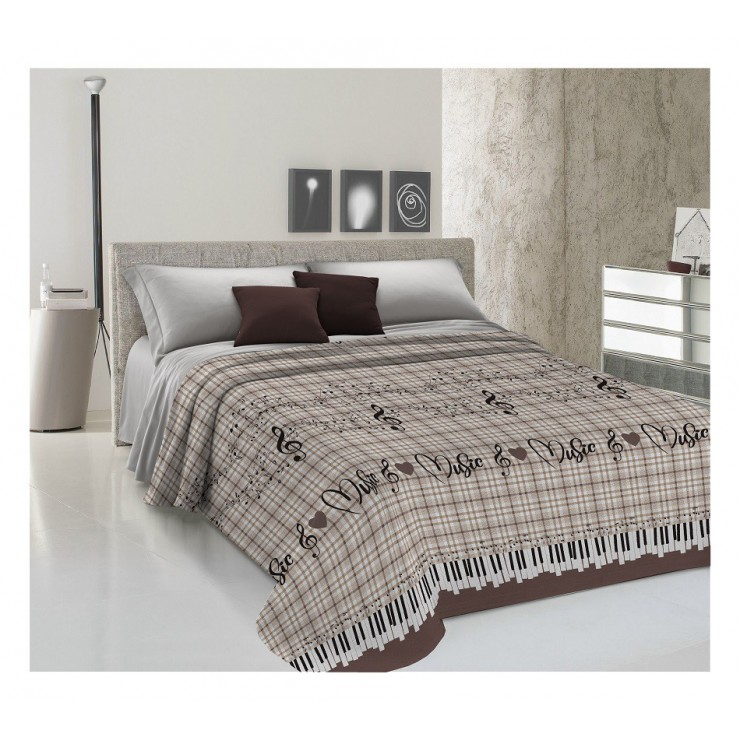Bedcover Piquet Music beige