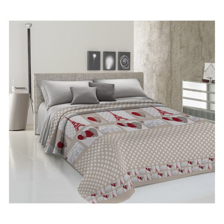 Bedcover Piquet Paris red