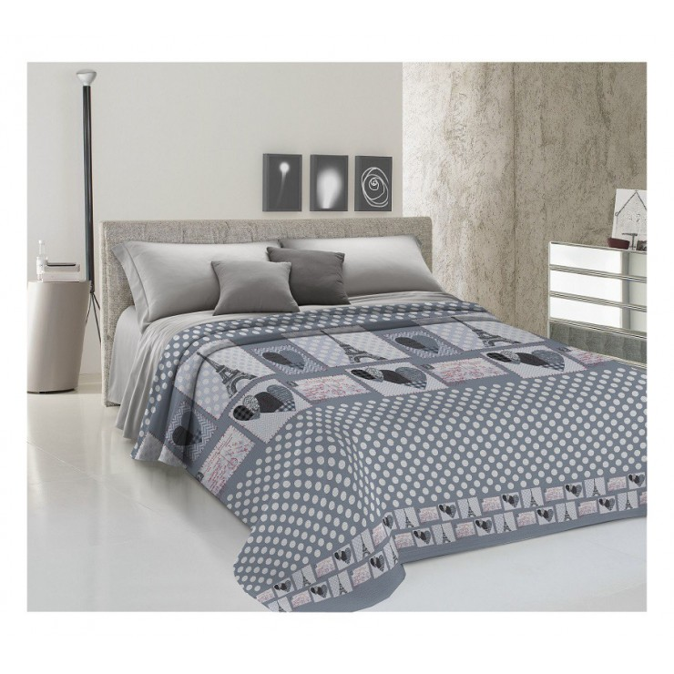 Bedcover Piquet Paris gray