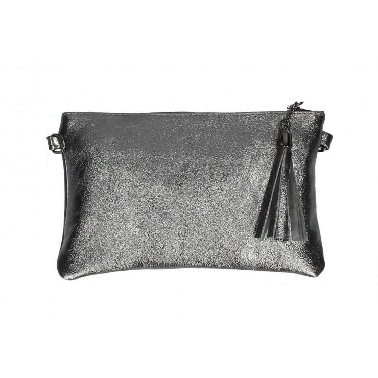 Kožená kabelka 750 šedá metalíza
