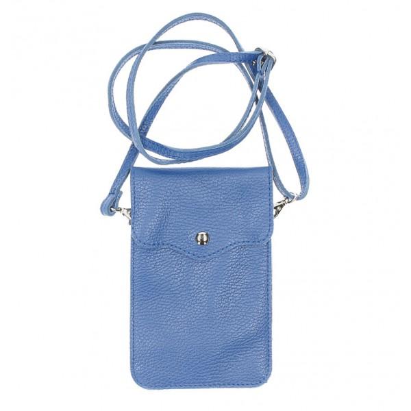 Kožené púzdro na mobil MI895 azurovo modré Made in Italy Modrá