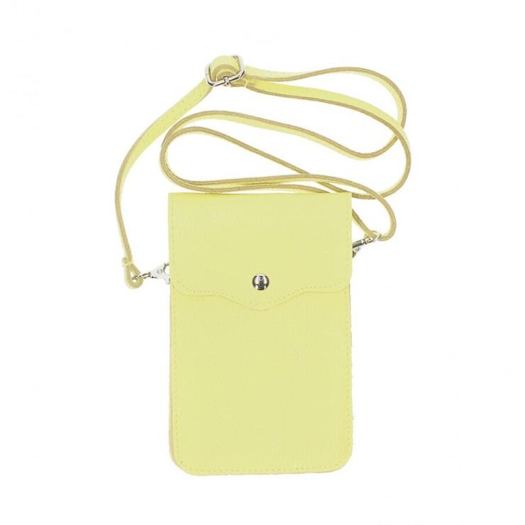 Kožené púzdro na mobil MI895 limetkovo žlté Made in Italy
