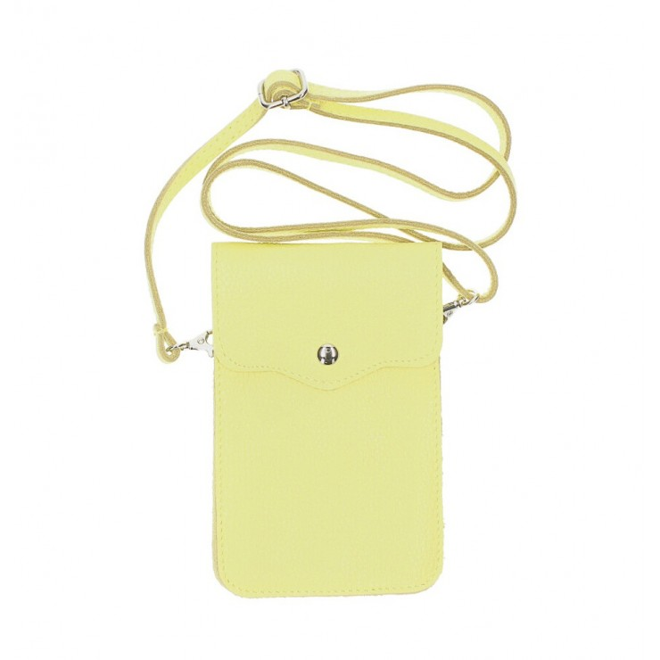 Leather strap pocket for Mobile MI895 lime yellow Made in Italy