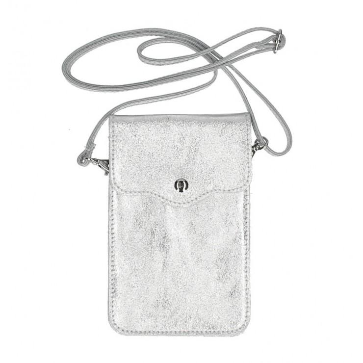 Kožené pouzdro na mobil MI895 stříbrné Made in Italy