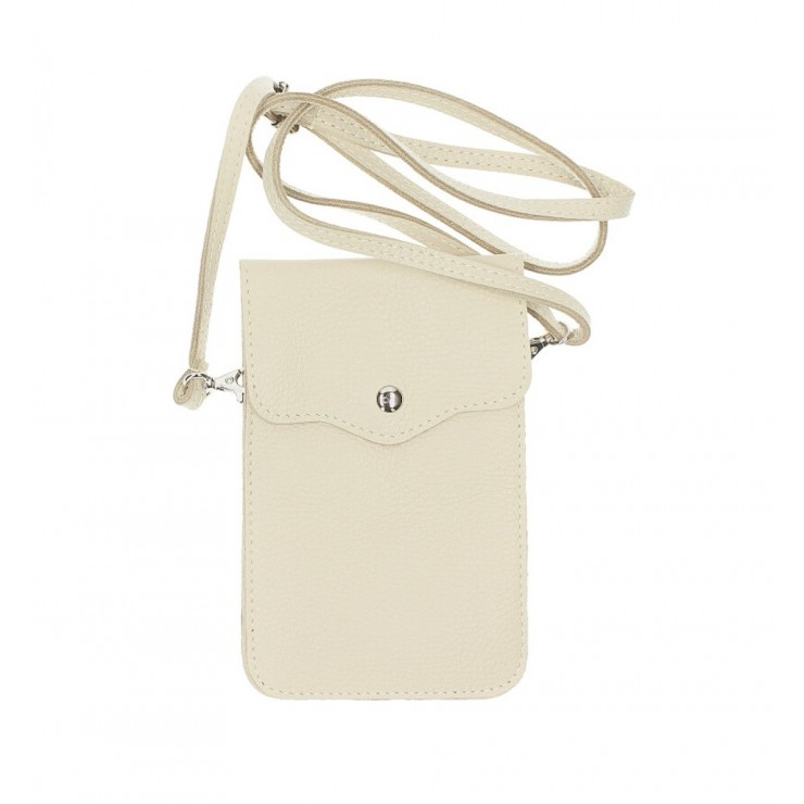 Leather strap pocket for Mobile MI895 beige Made in Italy