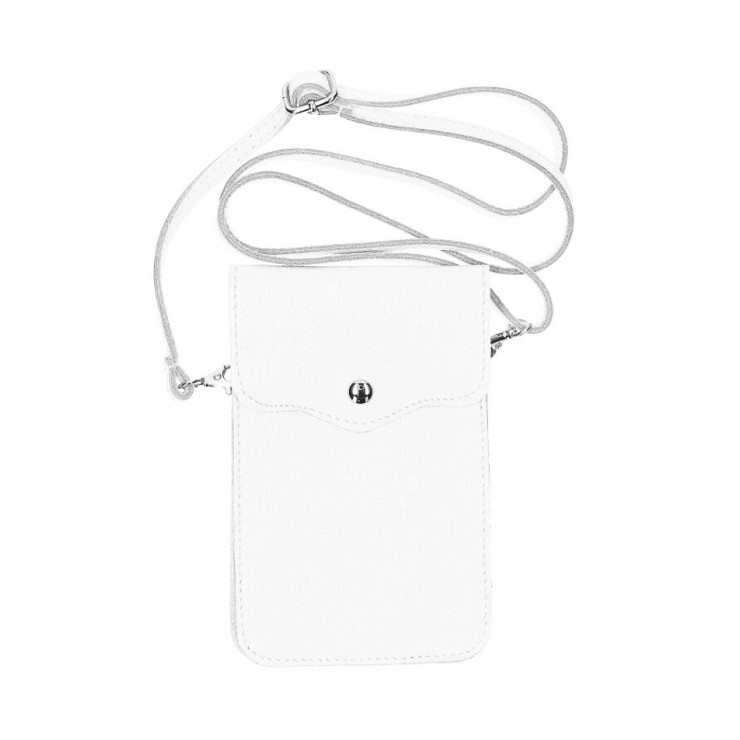 Leather strap pocket for Mobile MI895 white Made in Italy