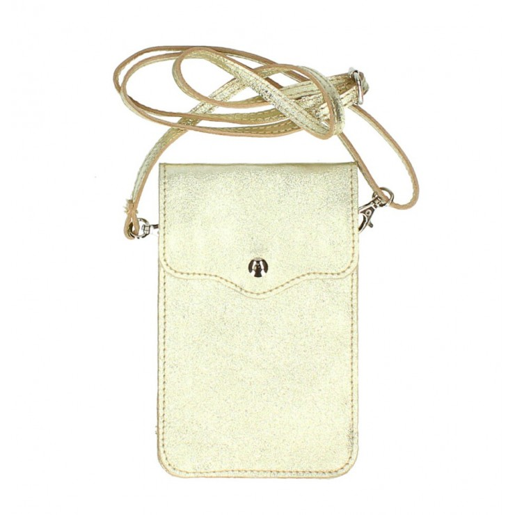 Leather strap pocket for Mobile MI895 gold Made in Italy