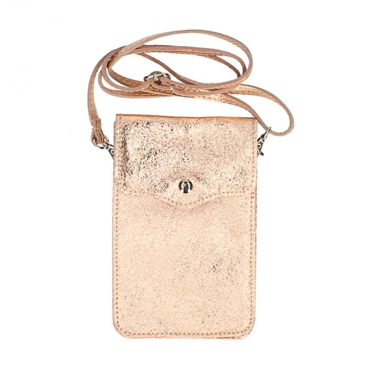 Leather strap pocket for Mobile MI895 pink gold Made in Italy