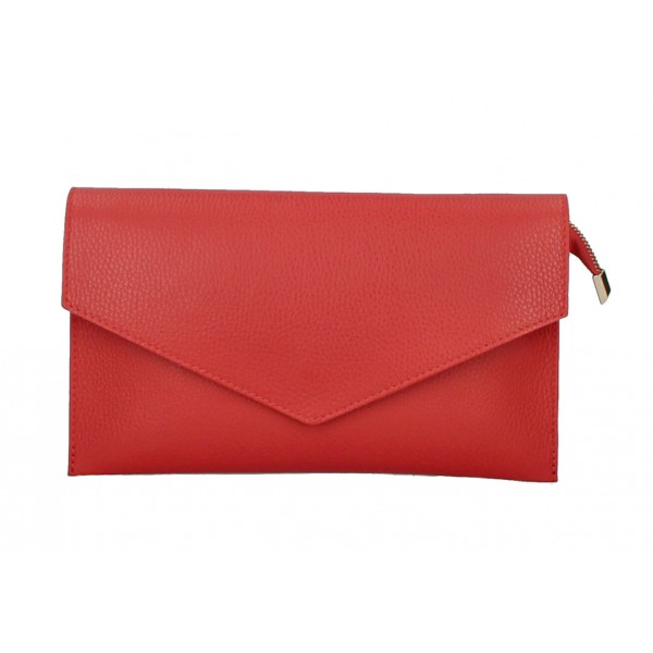 Kožená kabelka 121 červená Červená