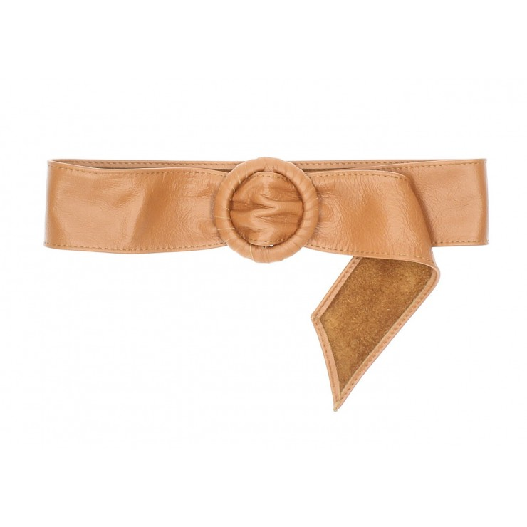 Women leather belt 128 cognac Made in Italy