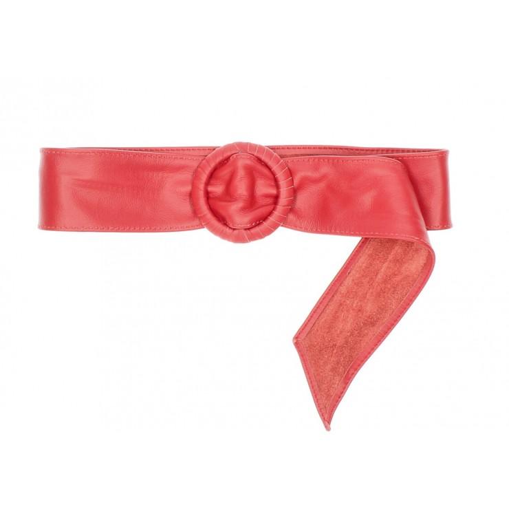 Dámsky kožený opasok 128 červený Made in Italy