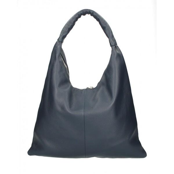 Kožená kabelka na rameno 139 tmavomodrá MADE IN ITALY Modrá